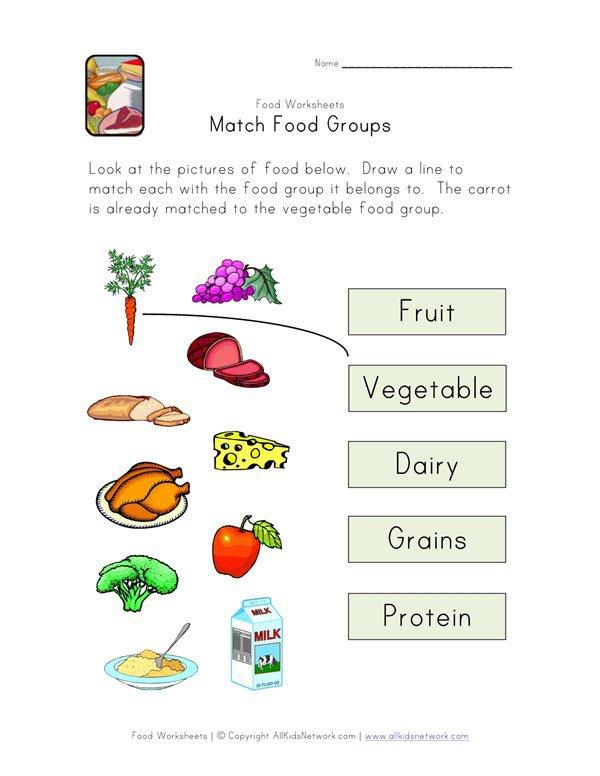 Match Food Groups Worksheet