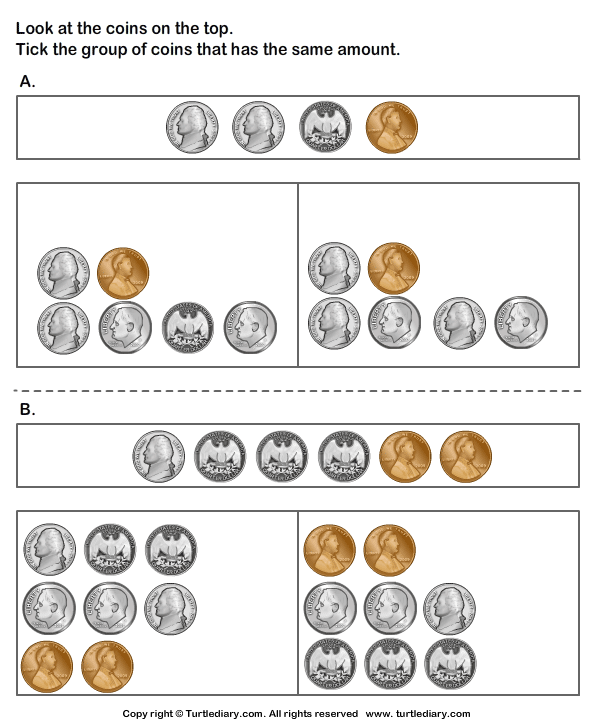 Matching Groups Of Coins Worksheet