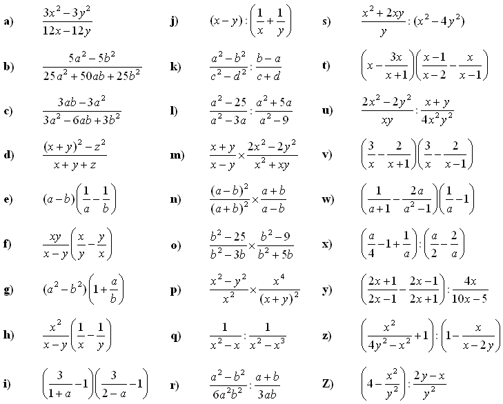 Math Exercises & Math Problems  Algebraic Fractions