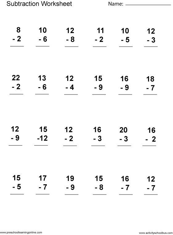 Math Worksheets 1st Grade Free Printable 560199