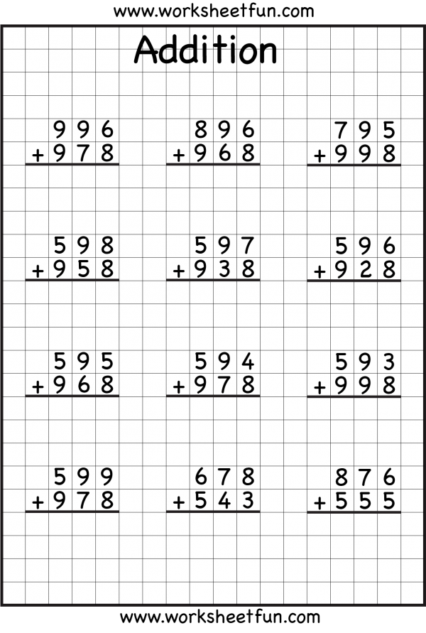 Math Worksheets 3 Digit Addition Regrouping 646834