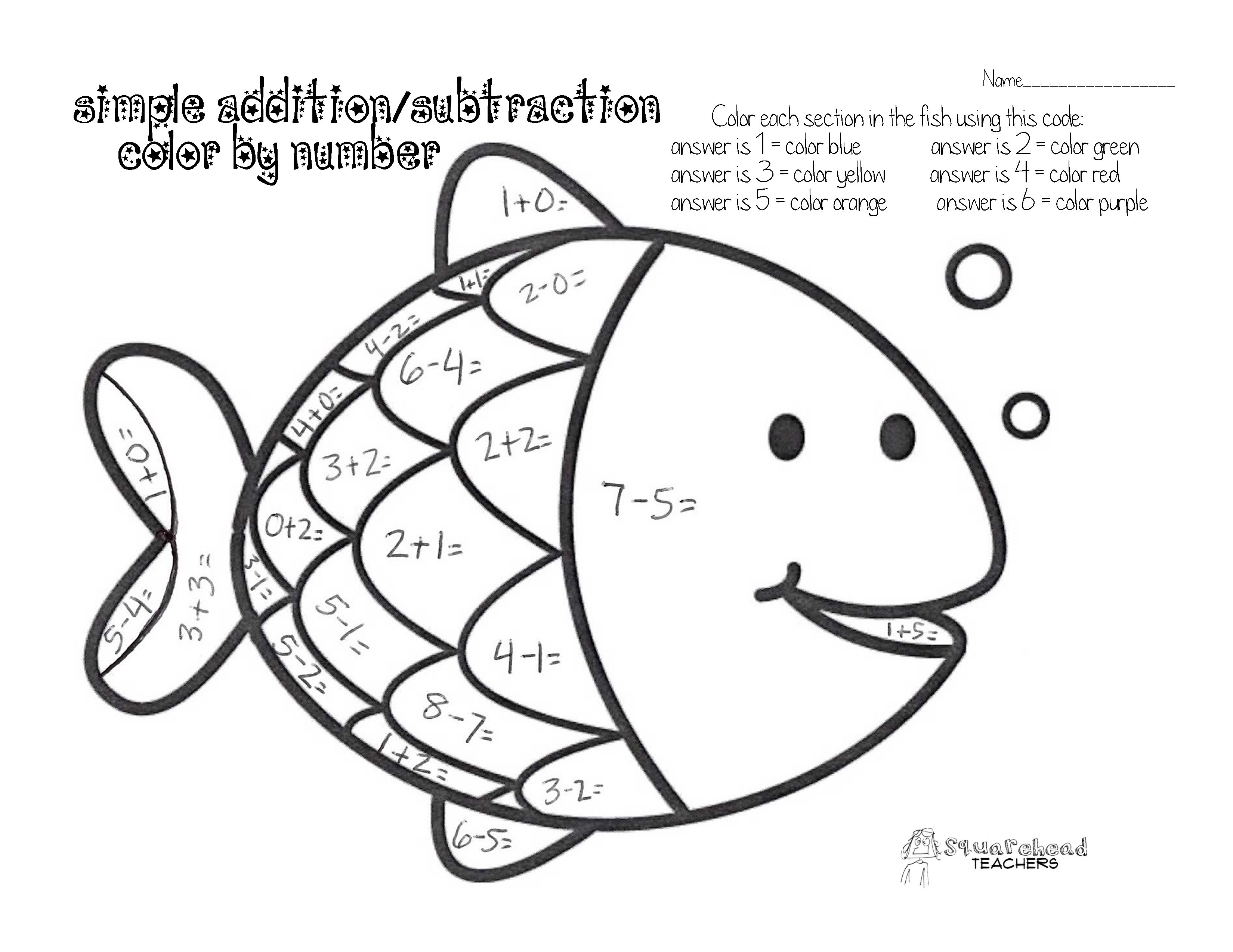 Math Worksheets Add And Color 1437251