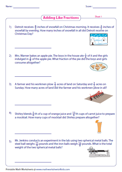 Math Worksheets Adding Fractions Word Problems 1088613