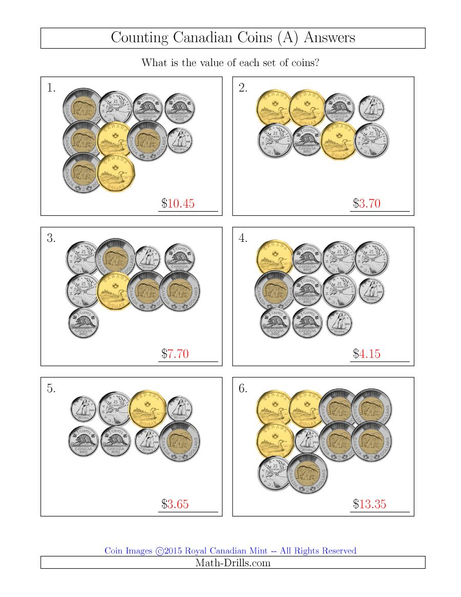 Math Worksheets Counting Canadian Money 178414