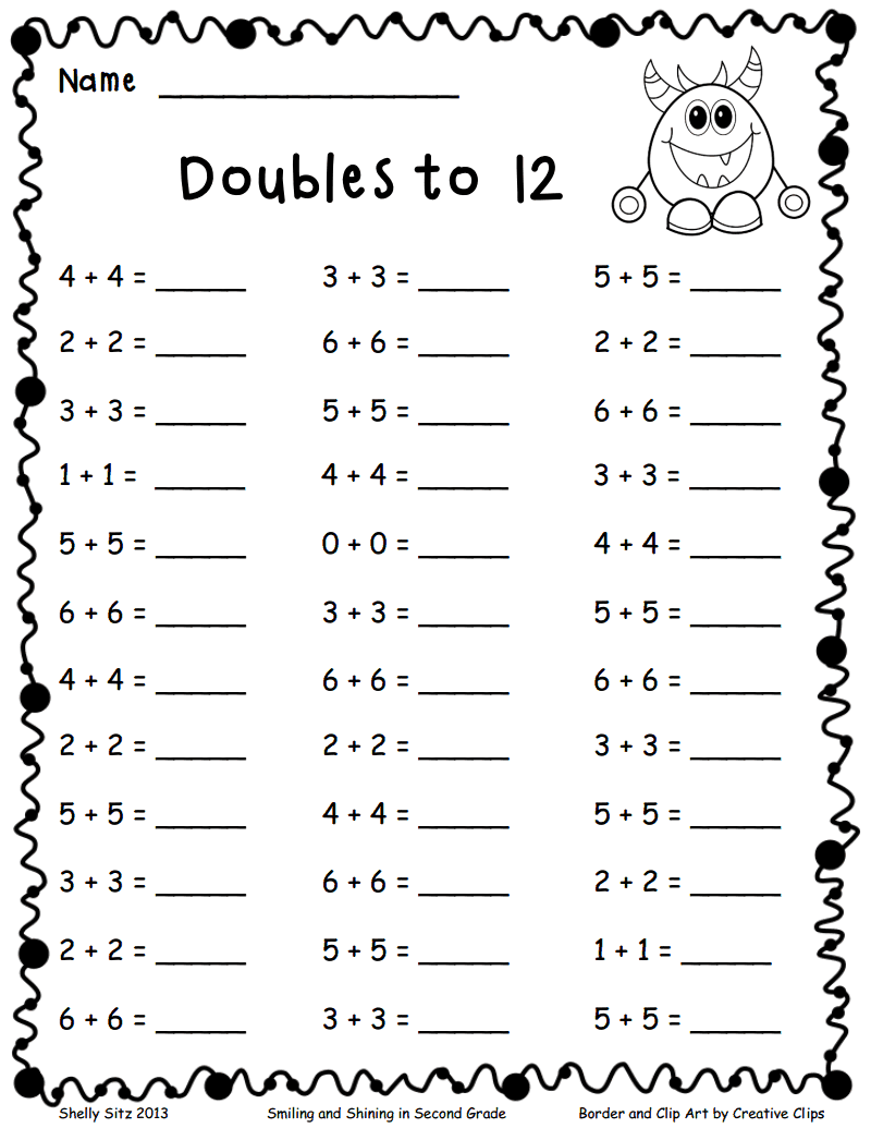 Math Worksheets First Grade Doubles 380194