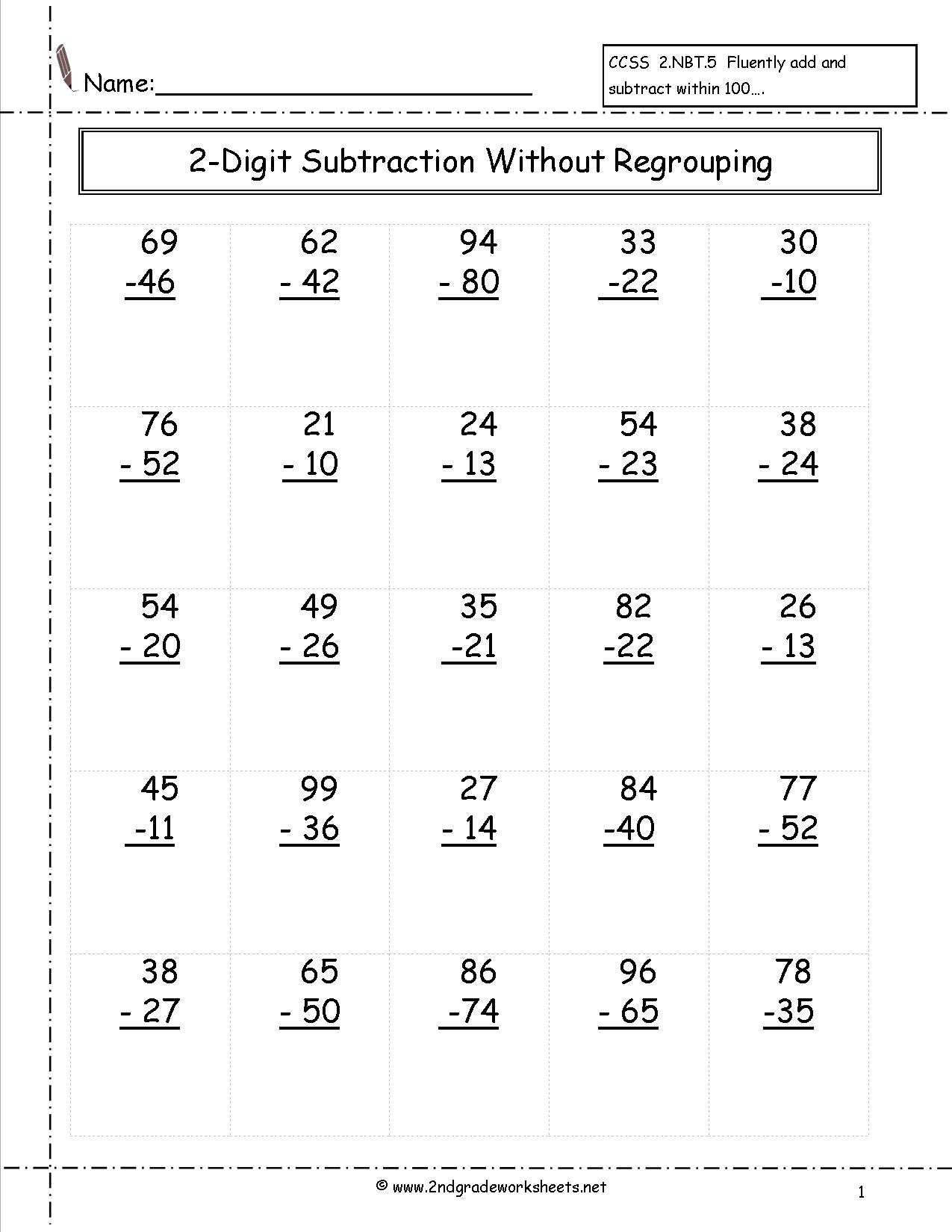 Math Worksheets For 2nd Grade Subtraction Regrouping 1122265
