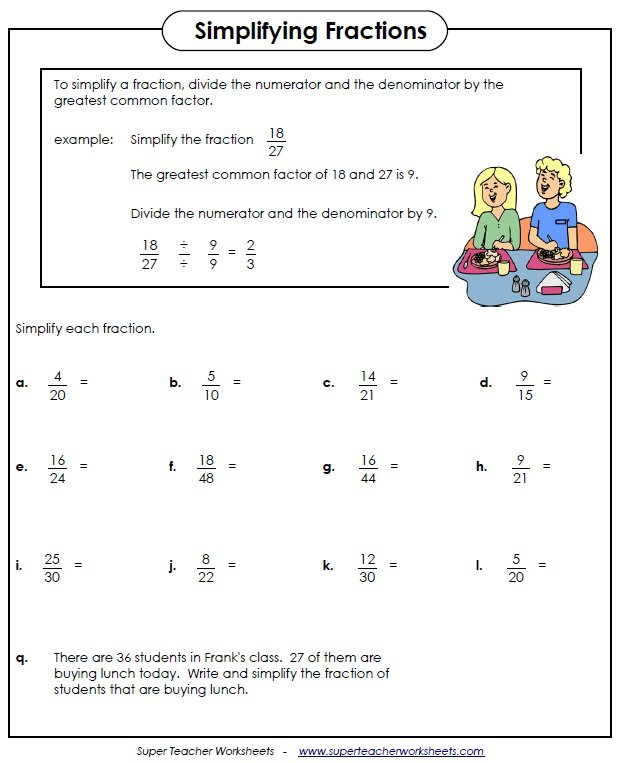 Math Worksheets For Grade 4 Equivalent Fractions 741384