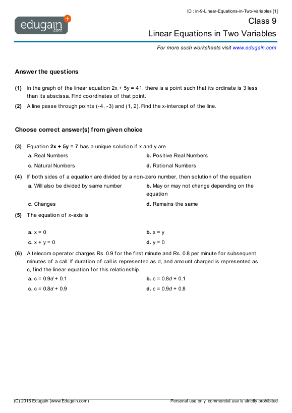 Math Worksheets For Grade 9 Academic 78237