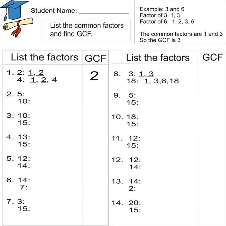 Math Worksheets Grade 7 Gcf Lcm 49897