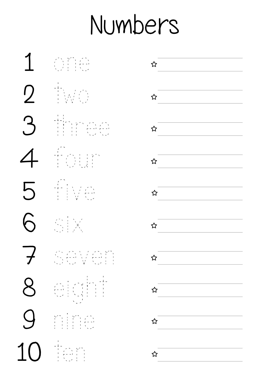 Math Worksheets Number Words 1244985