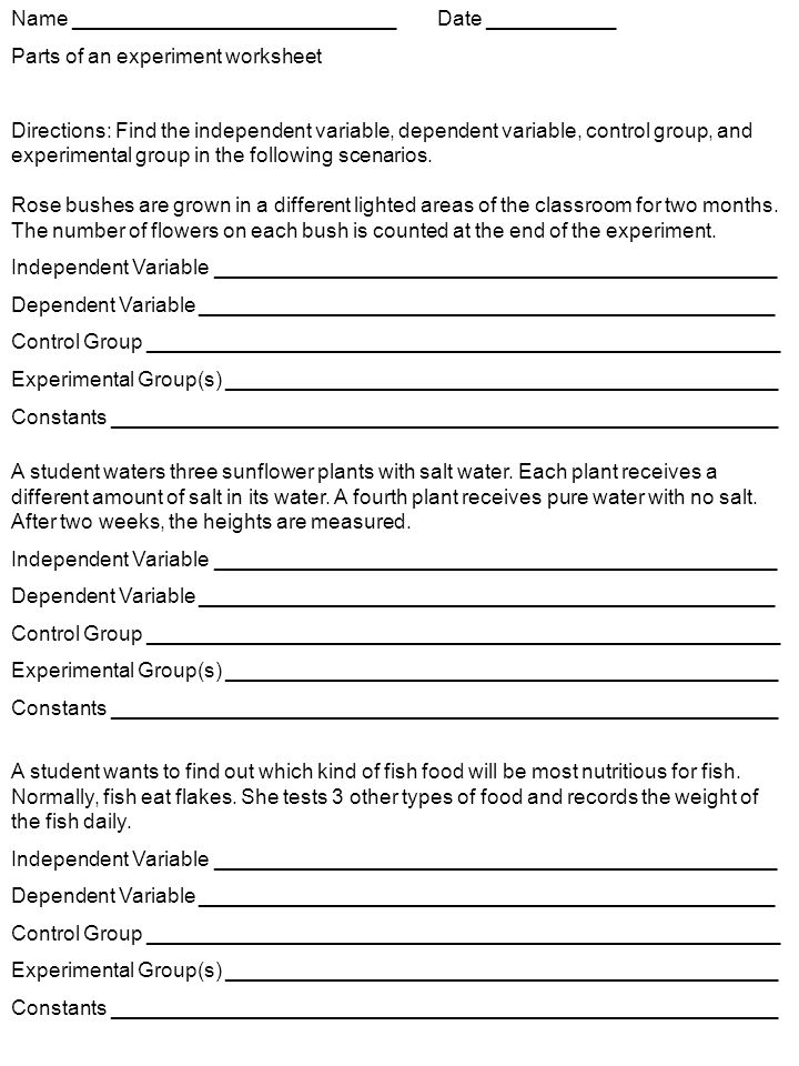 Math Worksheets On Independent And Dependent Variables 722763