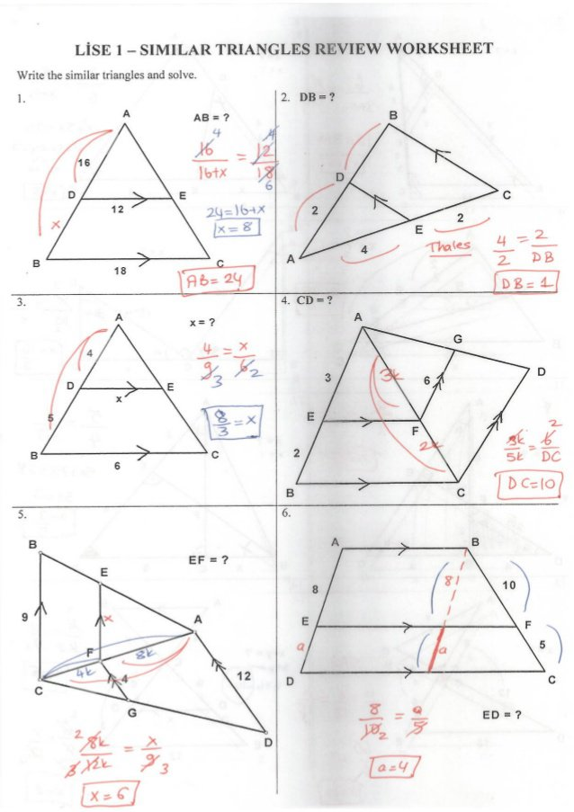 Math Worksheets Similar Triangles 171354