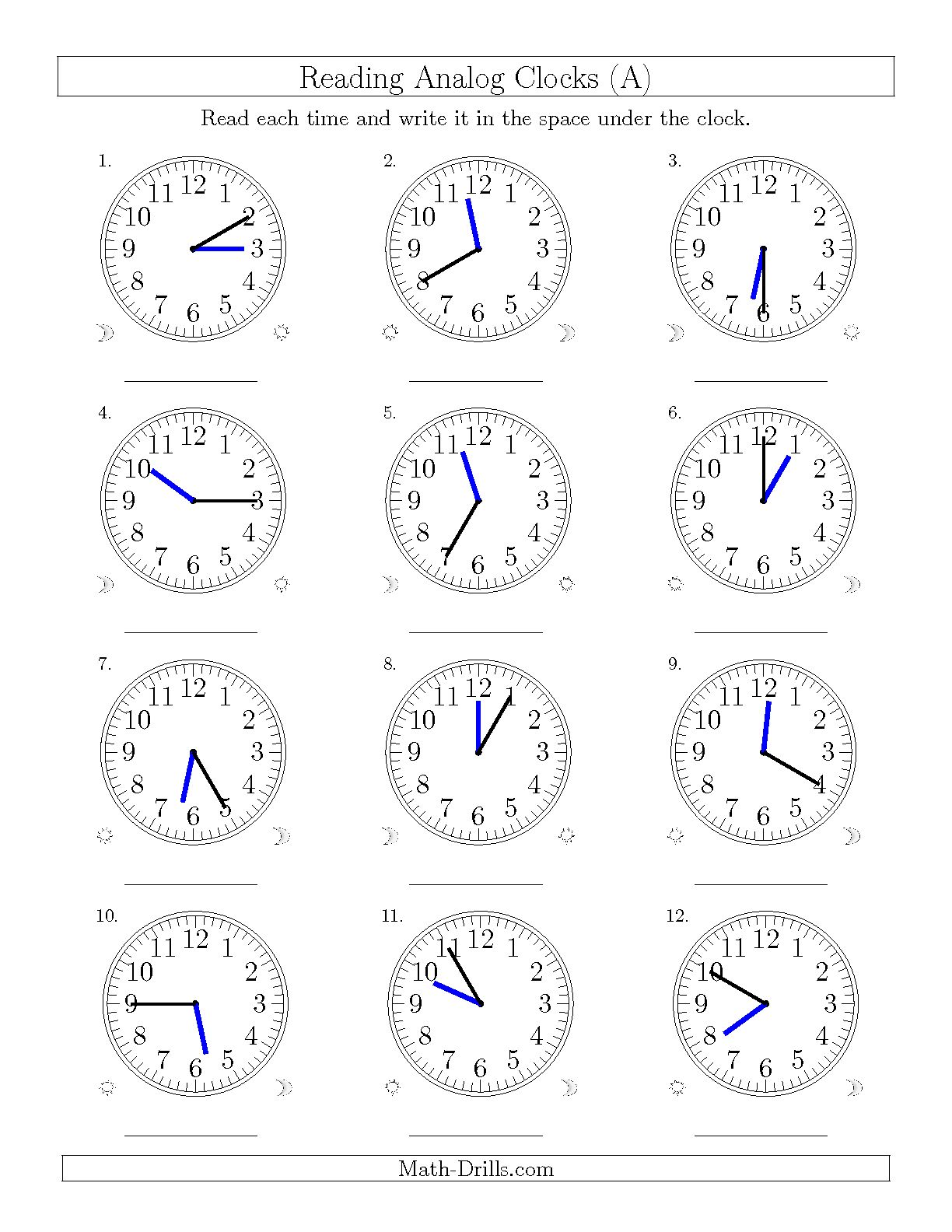 Math Worksheets Telling Time 5 Minutes 1265893