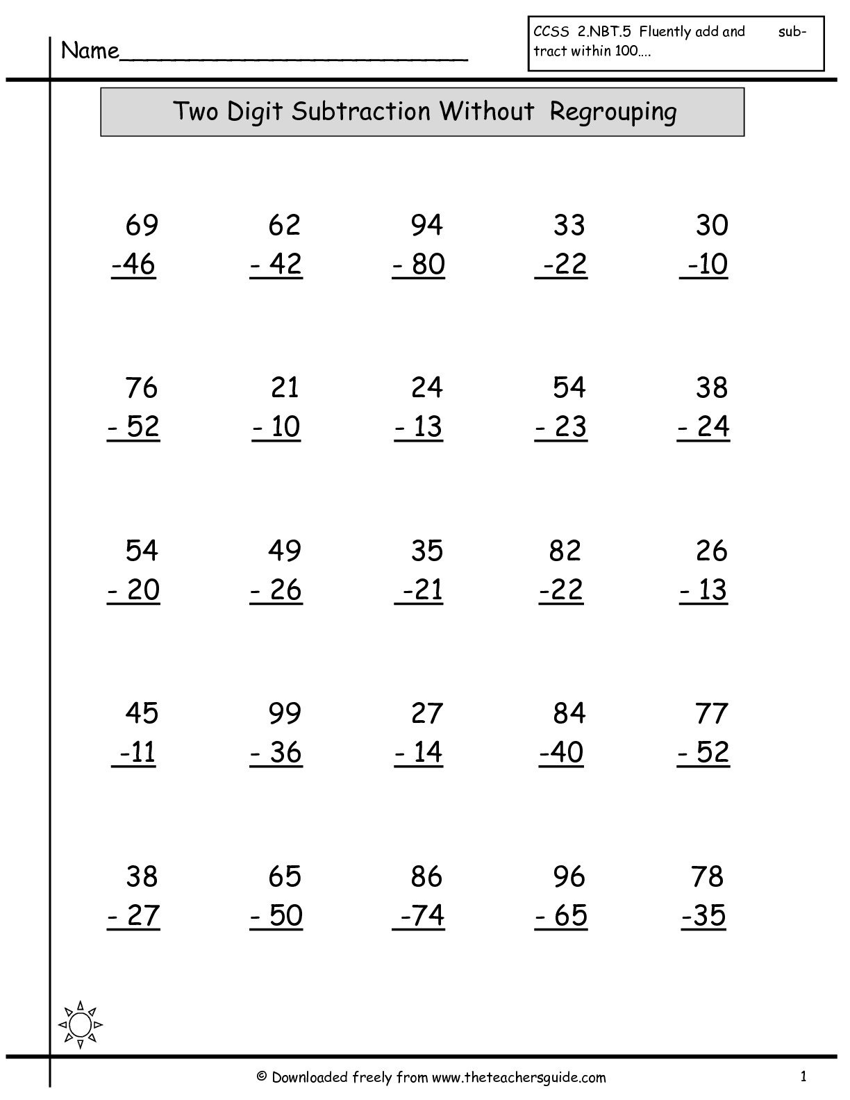 Math Worksheets Two Digit Addition And Subtraction Without