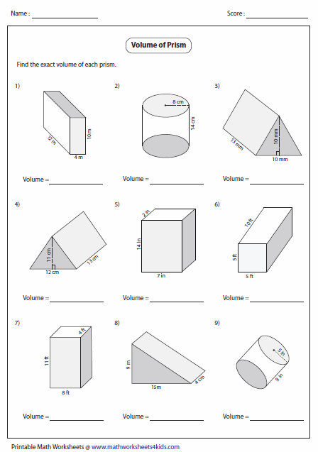 Math Worksheets Volume Surface Area 929176