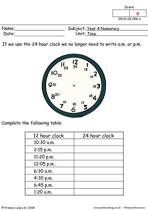 Maths Worksheets Ks2 24 Hour Clock 208757