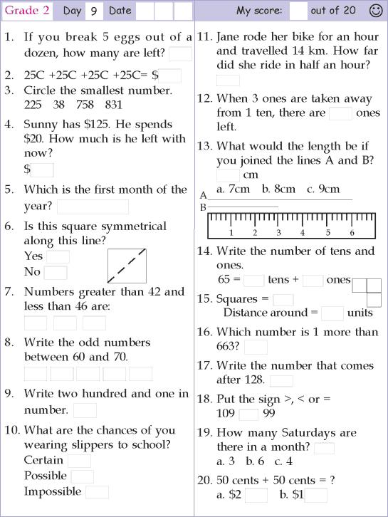 Mental Math Grade 2 Day 9