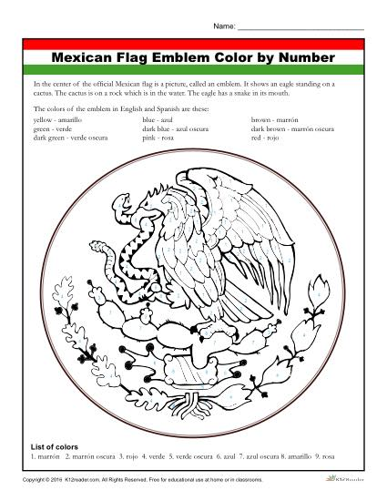 Mexican Flag Coloring Activity Worksheet For Kids