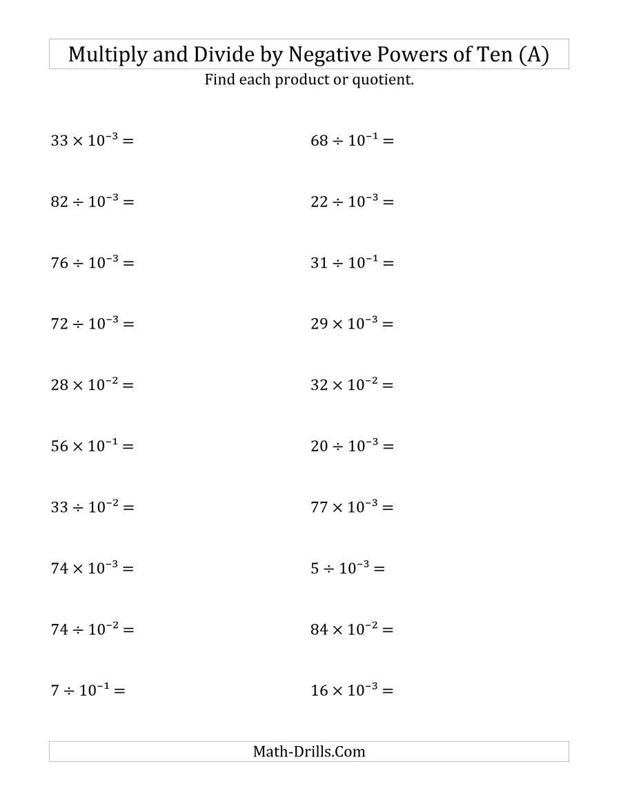 Multiplication And Division Worksheets With Negative Numbers