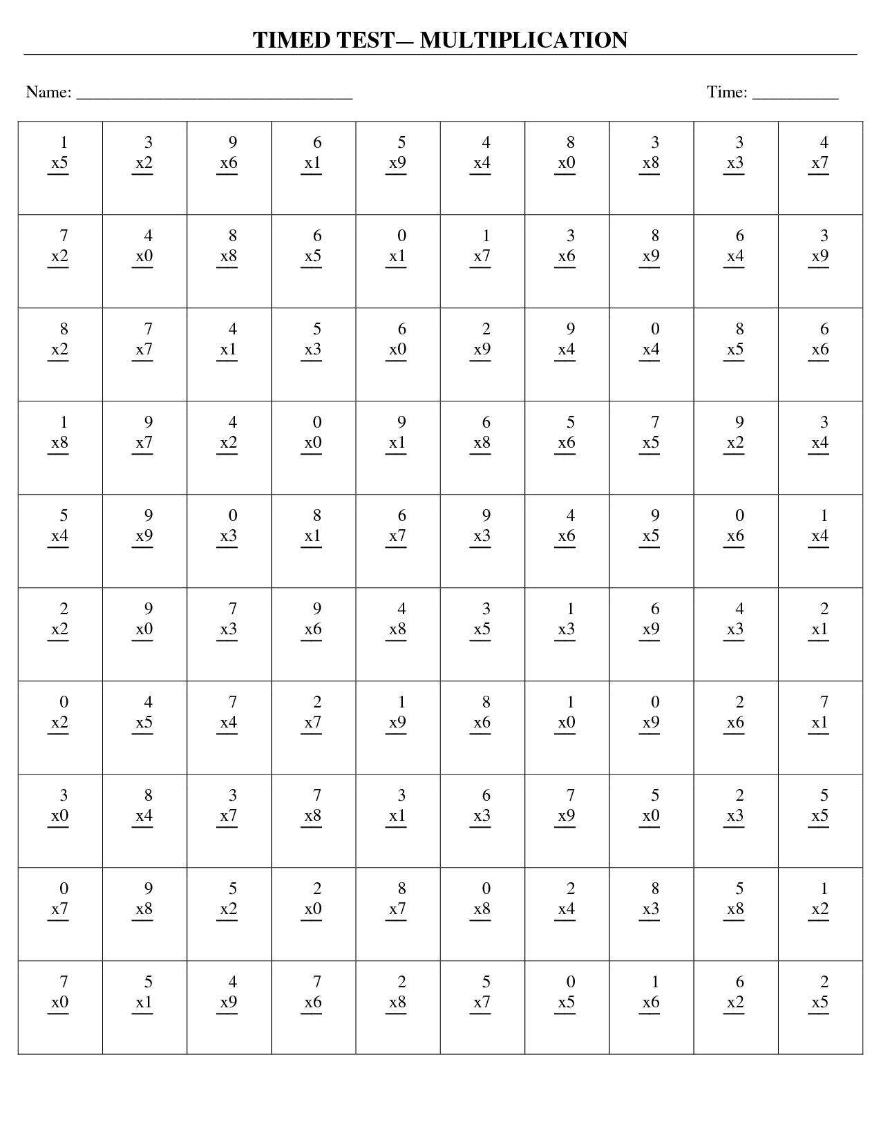 Multiplication Timed Test Worksheet Worksheet Workbook