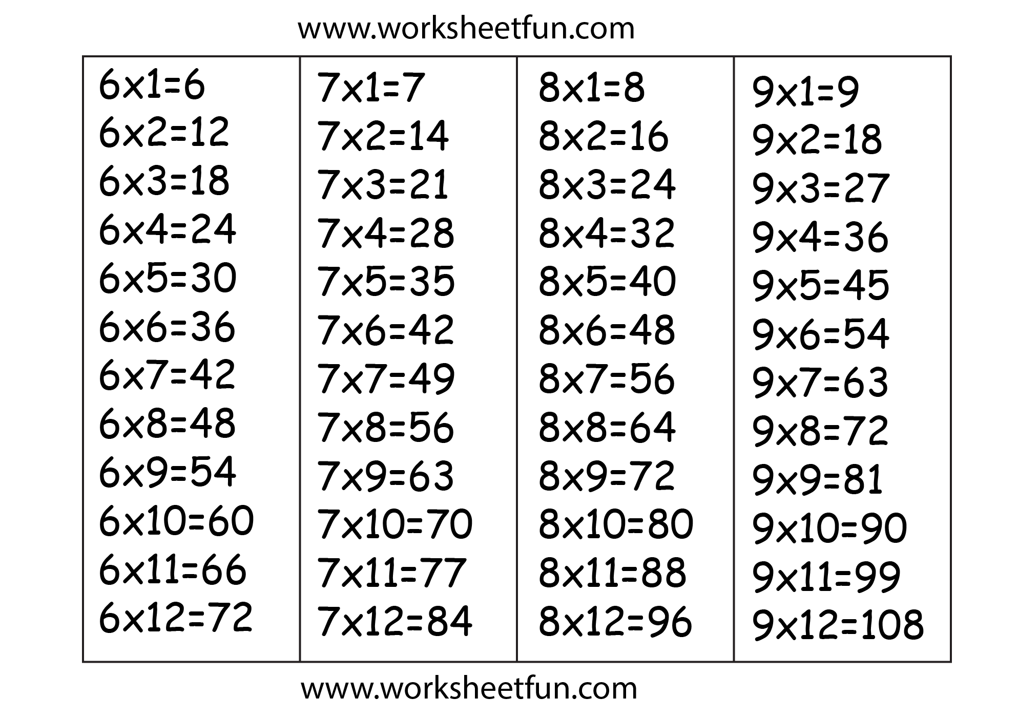 Multiplication Worksheets 6 And 7 Times Tables 573512