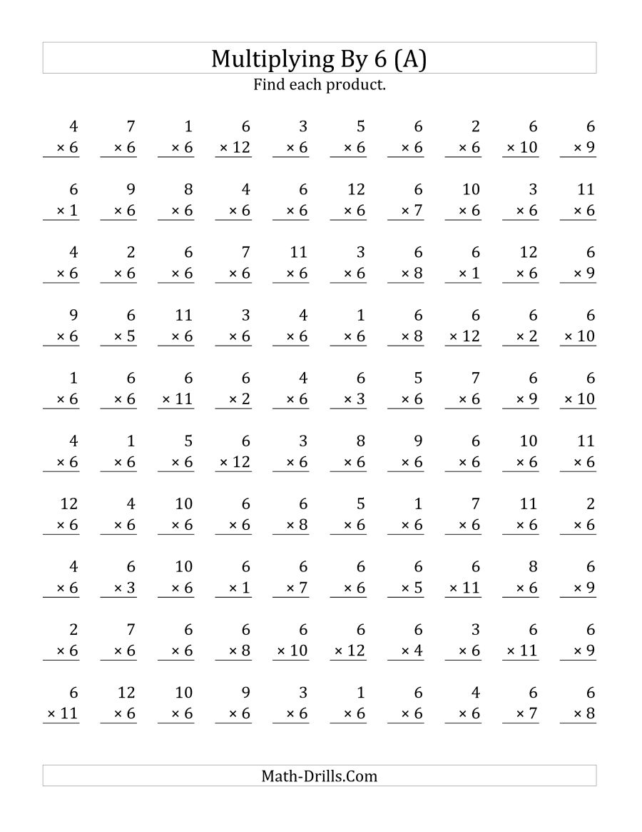 Multiplication Worksheets By 6 107044