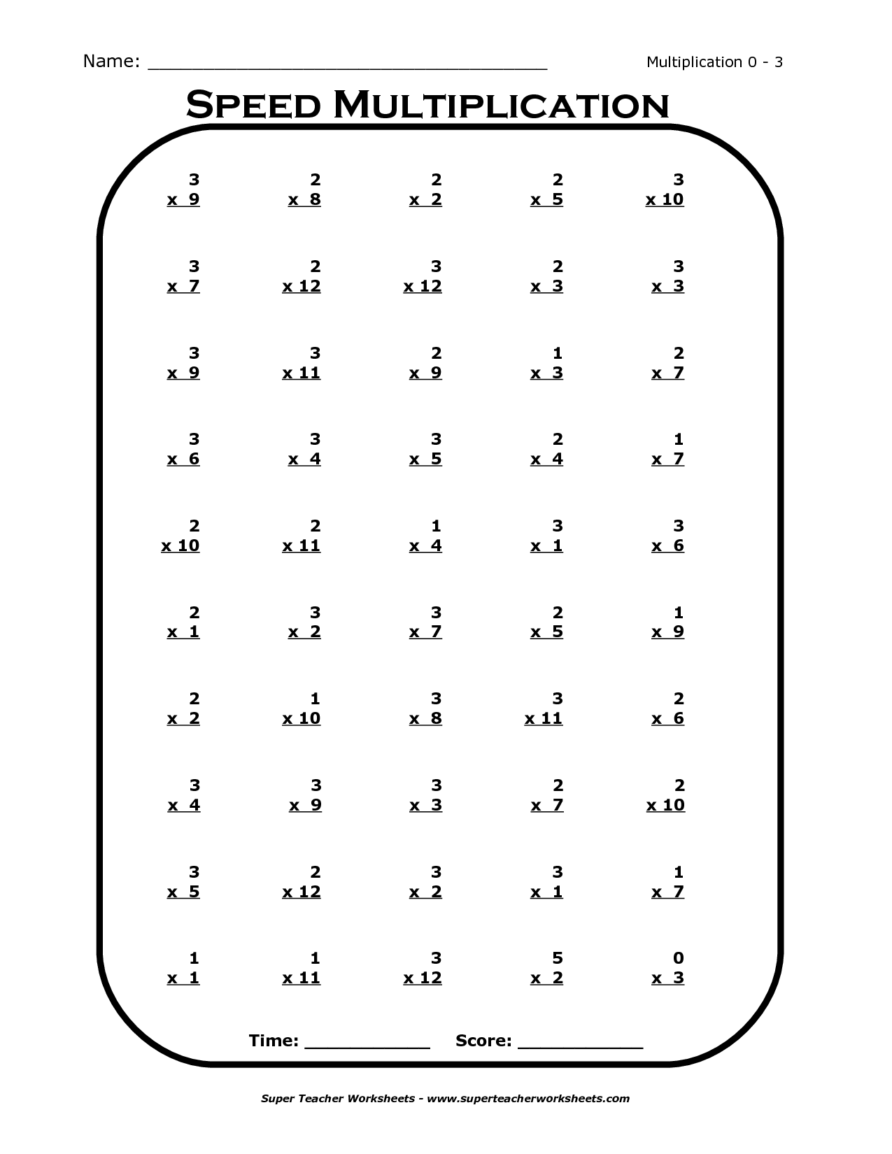 Multiplication Worksheets For 3 Times Tables 1275971