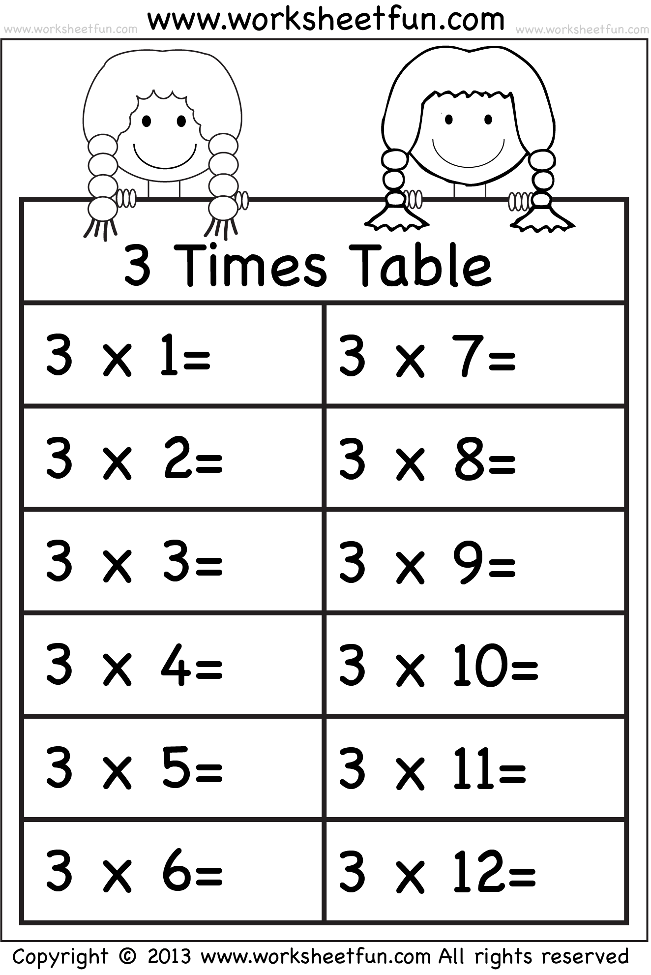 Multiplication Worksheets For 3 Times Tables 1275976