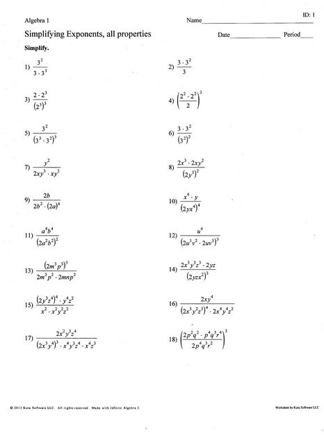 Multiply Exponents By Math Worksheet Great Remedial Simplifying