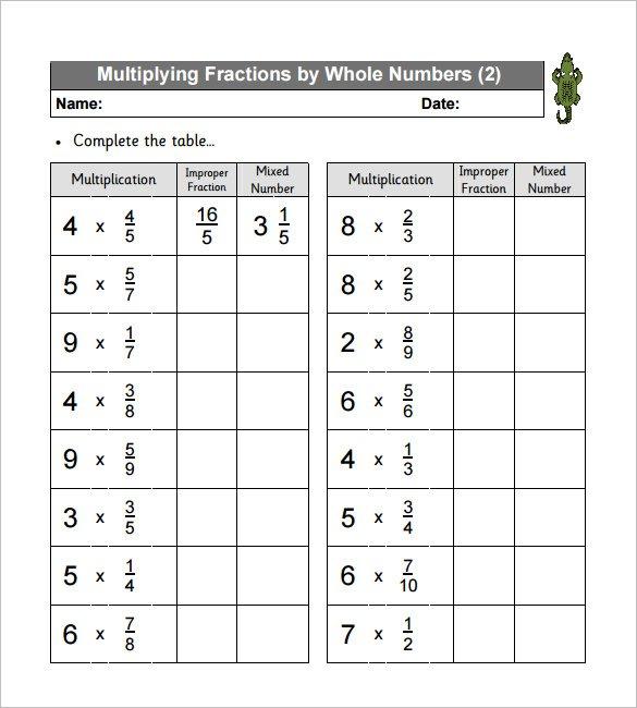 Multiply Fractions Worksheet