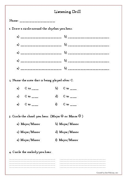 Music Aural Worksheet  Listening Drill Template