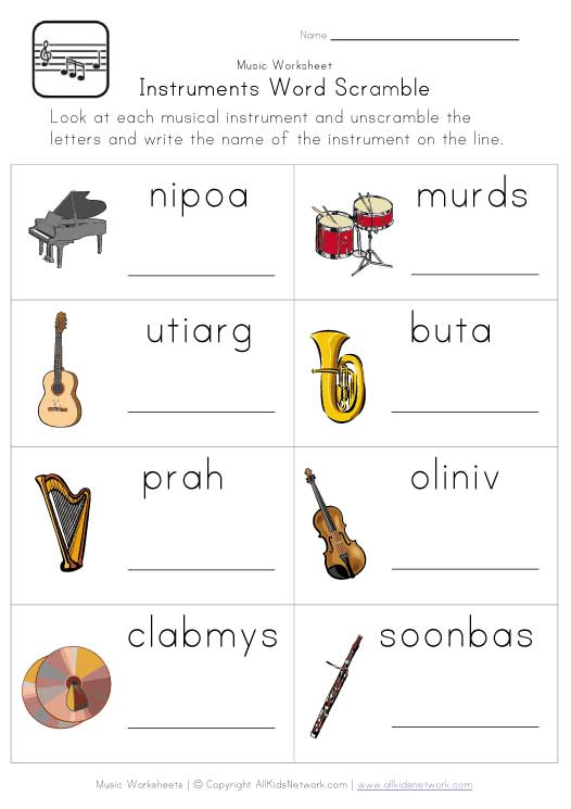 Music Worksheets Instruments Word Scramble Worksheet Classroom
