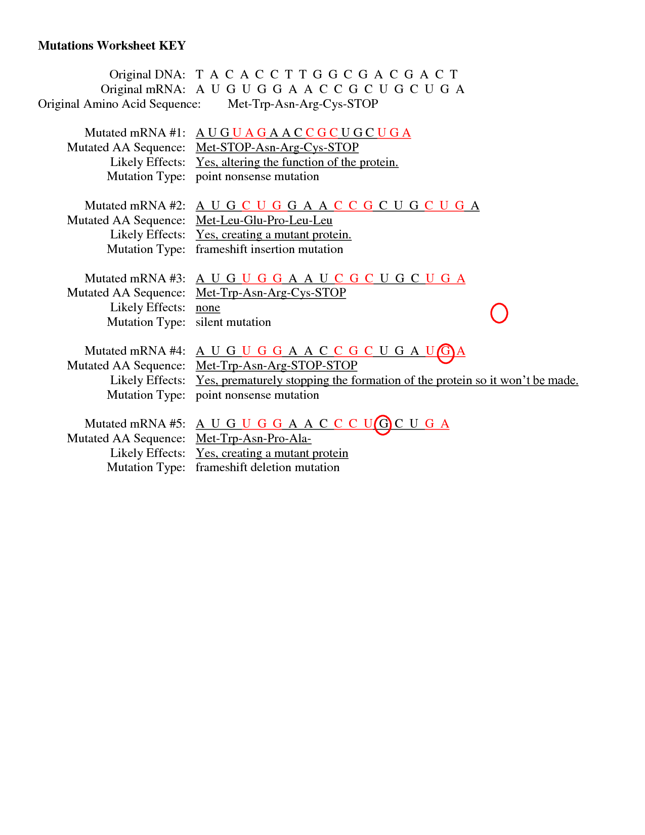 Mutations Practice Worksheet The Best Worksheets Image Collection