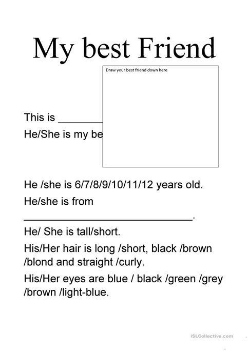 My Best Friend Worksheet