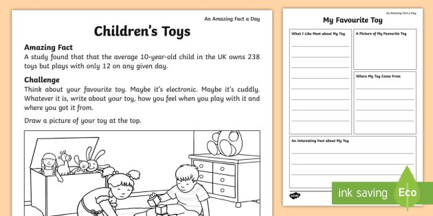 My Favourite Toy Fact File Worksheet   Activity Sheet