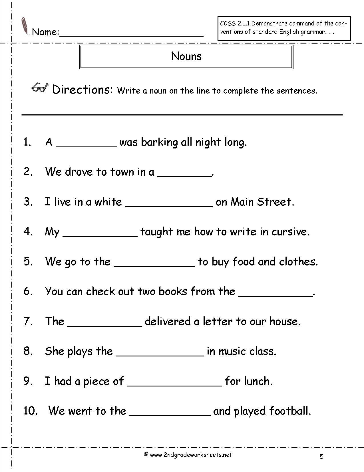 Nouns 2nd Grade 1195402