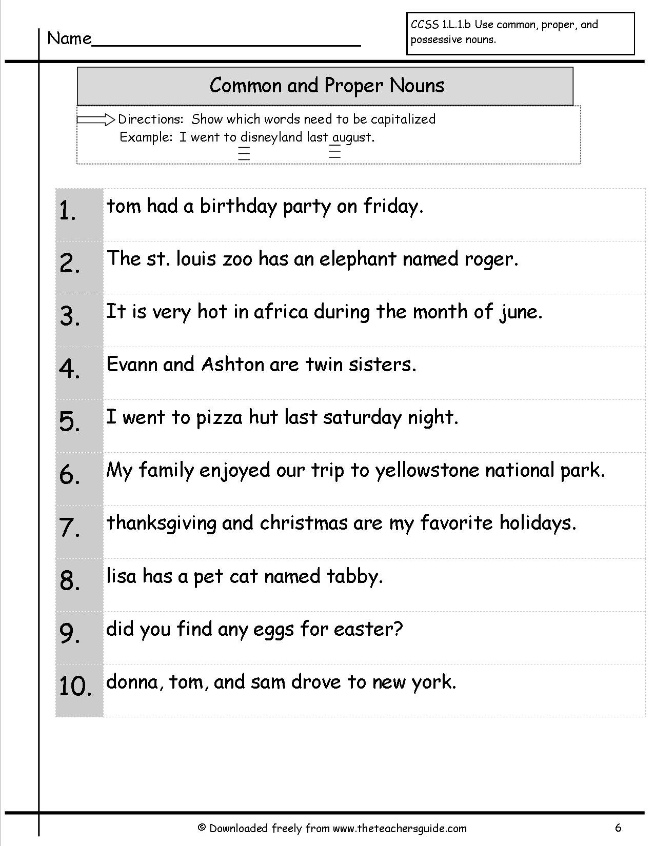 Nouns And Proper Nouns Worksheet The Best Worksheets Image