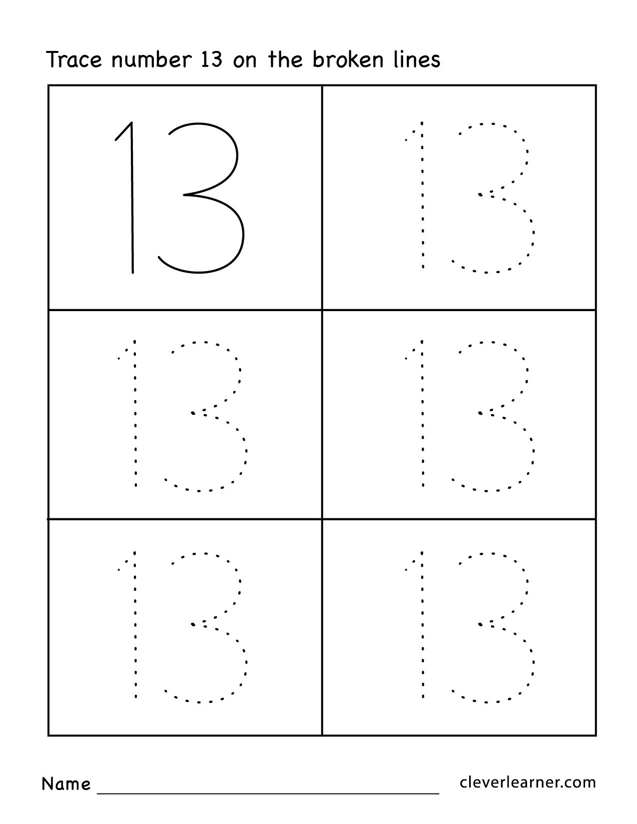 Number 13 Worksheets For Preschool 908544
