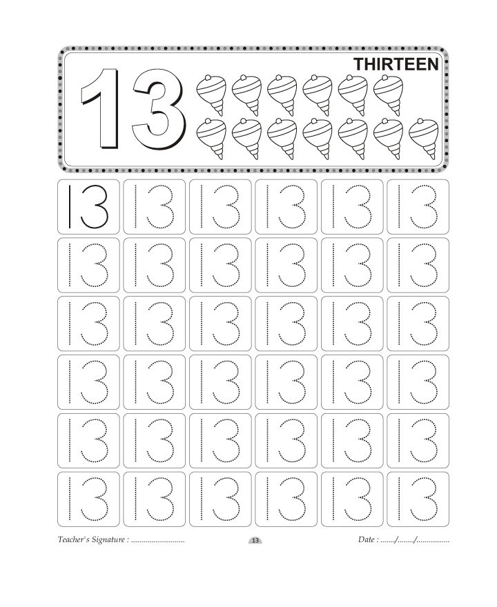 Number 13 Worksheets For Preschool 908557