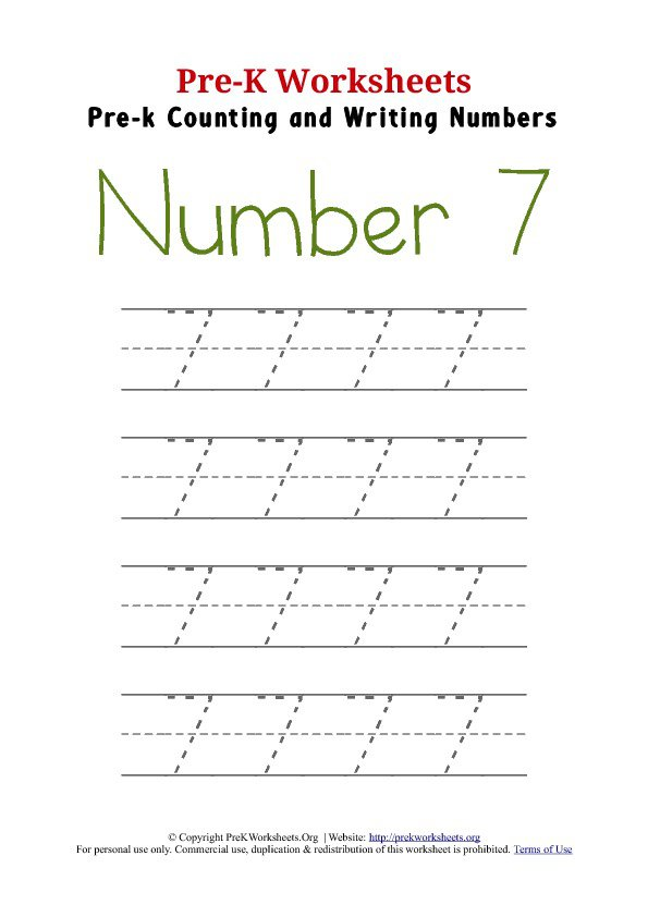 Number 7 Worksheet For Preschool 496268