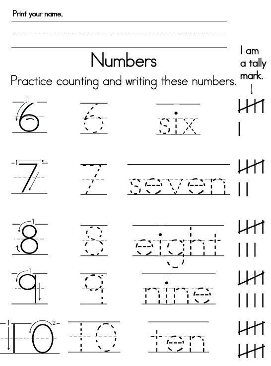 Numbers Words Worksheets For Kindergarten 103900