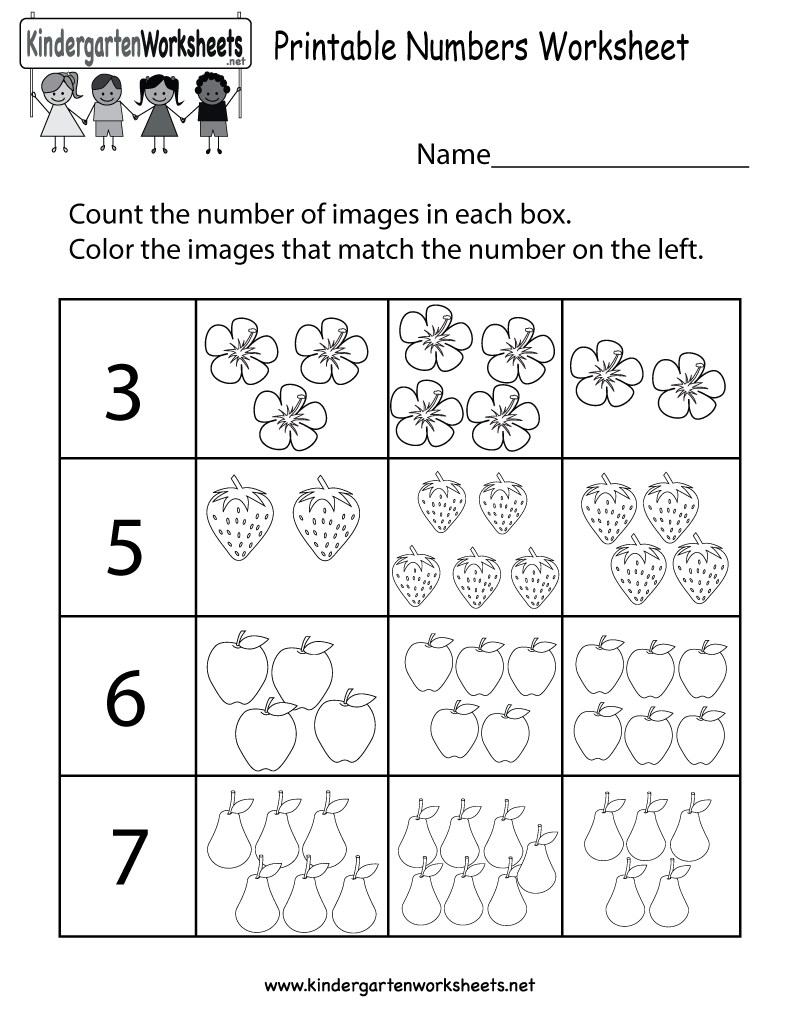 Numbers Worksheets For Kindergarten Printable Number Three