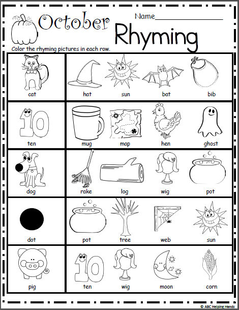 October Math And Literacy Worksheets For Kindergarten