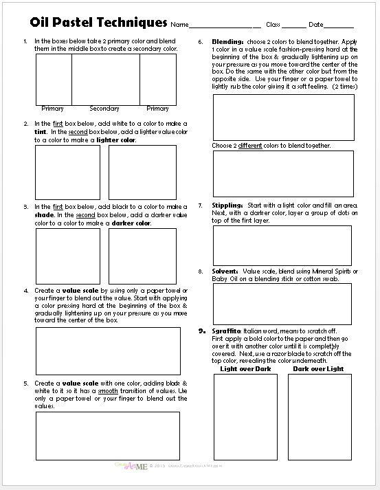 Oil Pastel Techniques Lesson Plan & Worksheet (pdf) Updated 2018