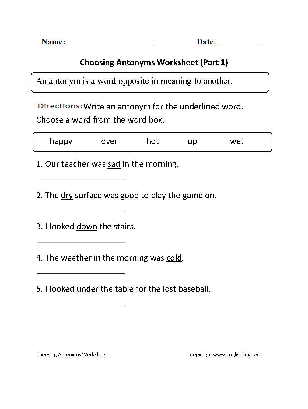 Opposites Worksheets For Grade 2 459483
