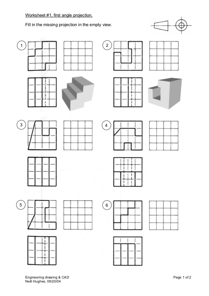 Orthographic Projection Worksheets 302899