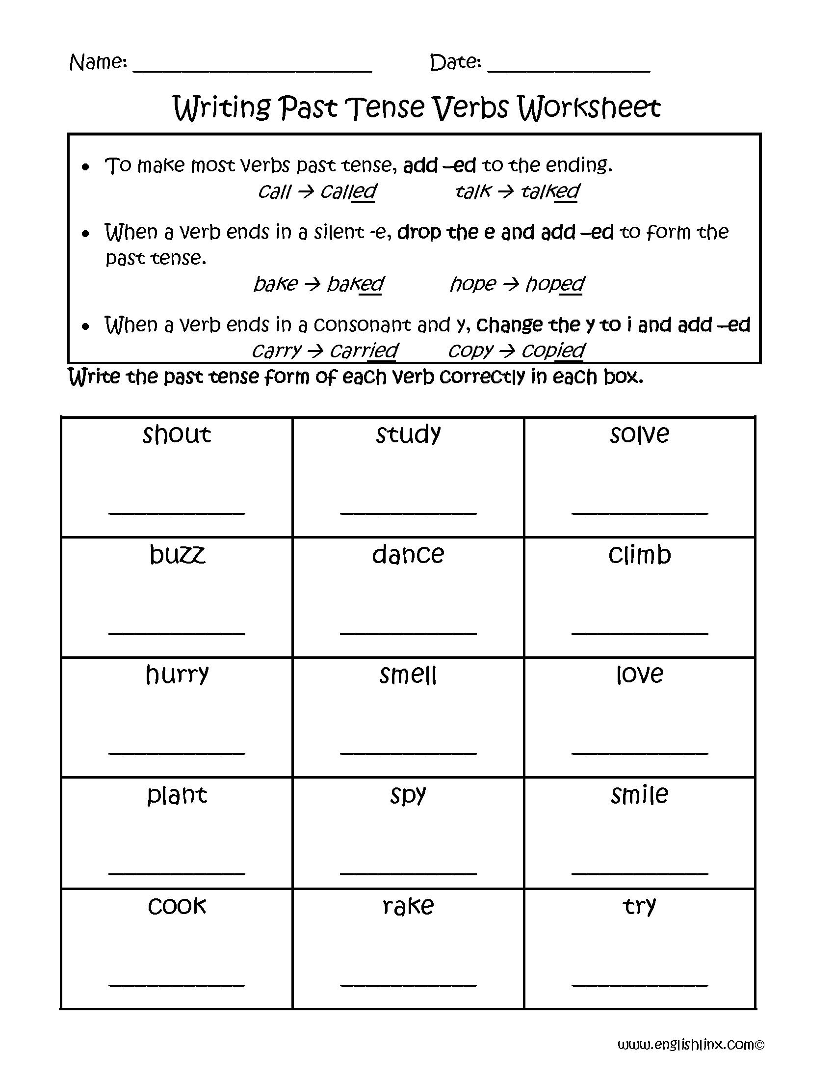 Past Tense Verb Worksheets 578138