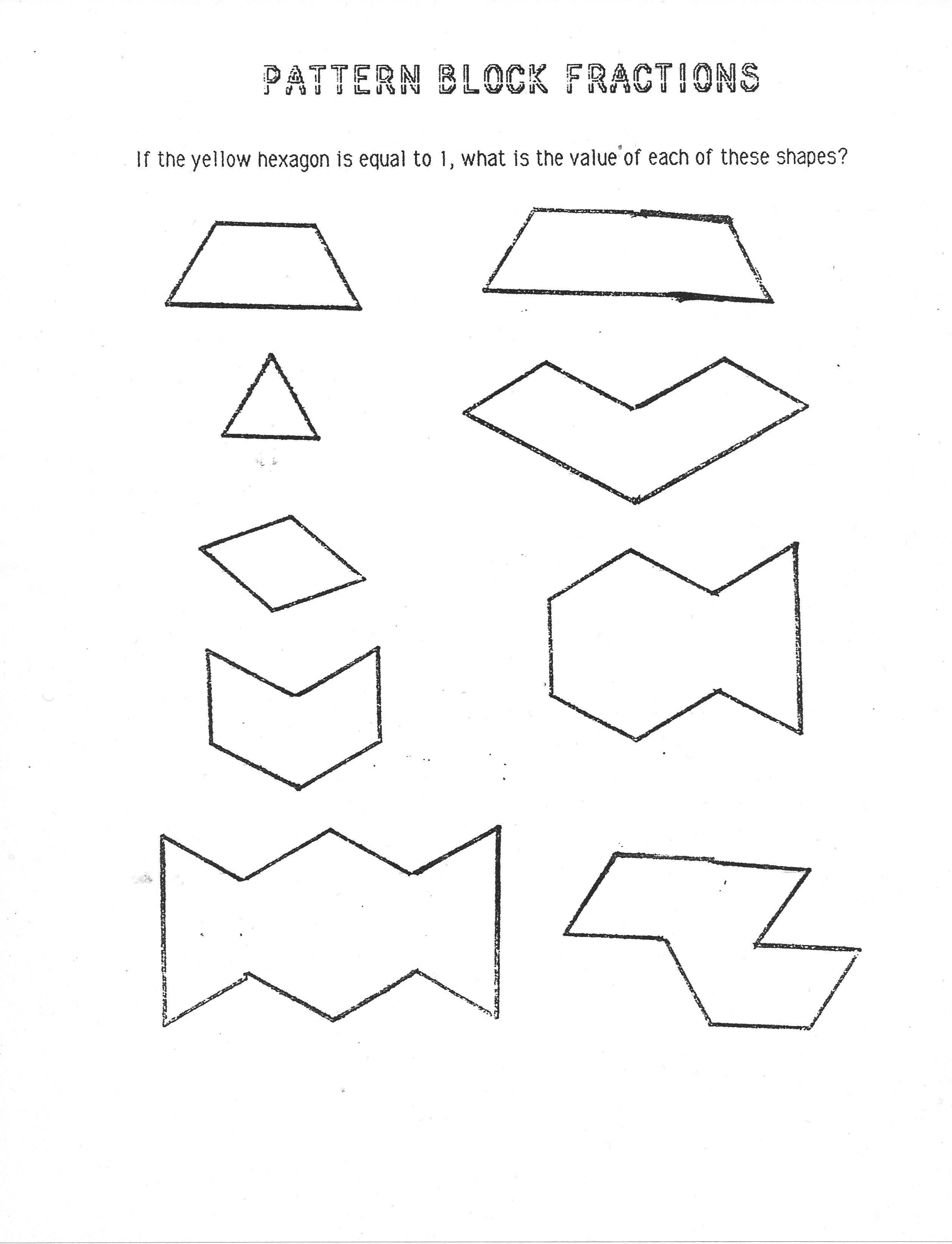 Pattern Block Worksheets Kindergarten Images