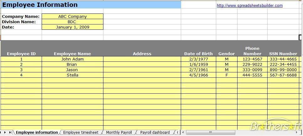 Payroll Spreadsheet Free