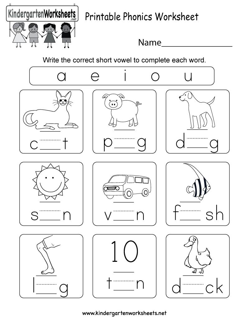 Phonics Worksheets For Kindergarten Printable Free The Best